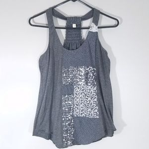 Anthrop Tiny Lace and Sequin Embellished Tank